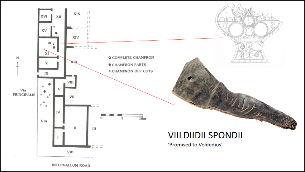 Plan of the Commanding officer's House at Vindolanda and where the chamfrons were found