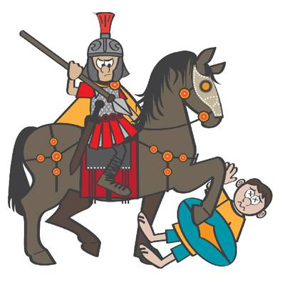 Cartoon of Victor the cavalryman, with a spear, riding over an enemy