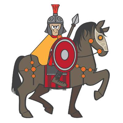 Cartoon of Victor the cavalryman, looking angry on a horse