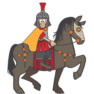 Cartoon of Victor the cavalryman, looking happy on a horse