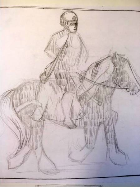 Drawing of a Cavalry rider
