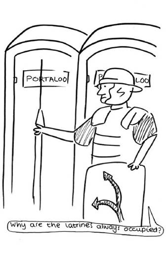 Cartoon of a Roman cavalry rider waiting for the portaloo