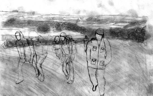 Drawing of Youth Panel walking along Hadrian's Wall