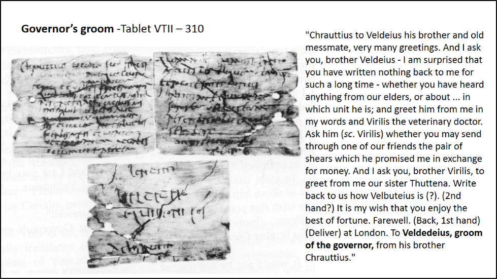 Vindolanda governor's groom tablet and translation