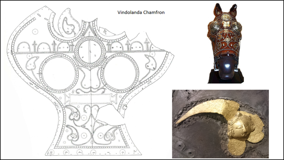 Vindolanda chamfron - horse's mask - diagram and photos