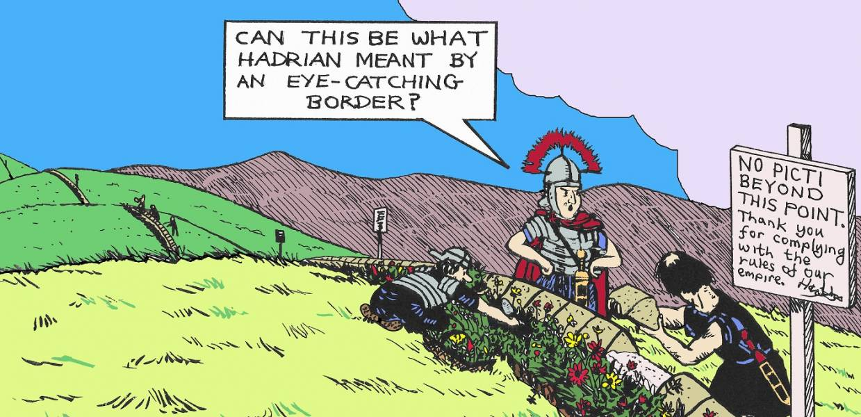 Cartoon of Roman soldiers on Hadrian's Wall by Roger Oram  copyright Arbeia Society