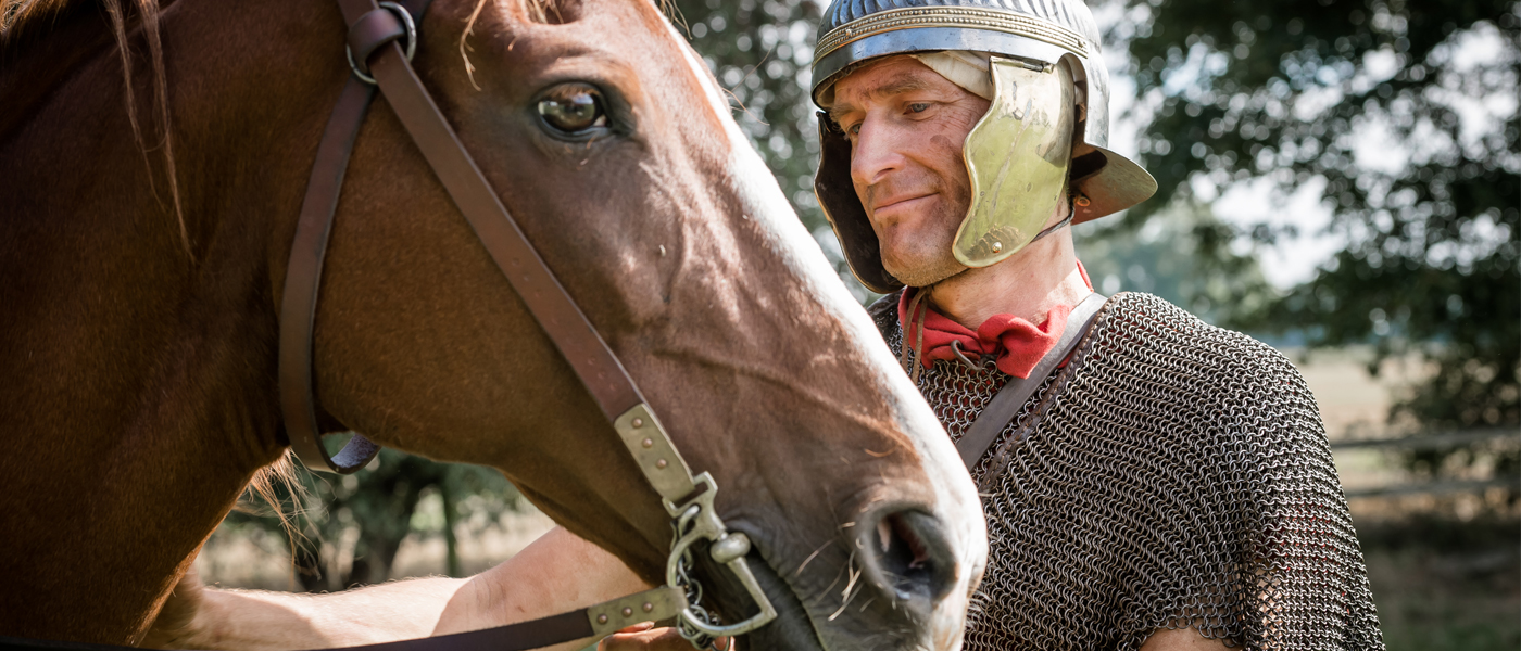 A Roman cavalry rider and his horse - copyright Ben Blackall