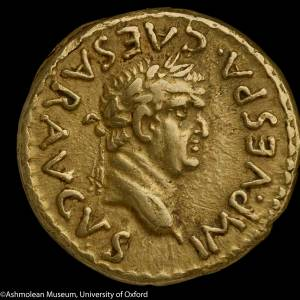 Coin showing the head of Aureus of Vespasian