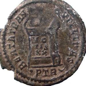 Coin with image of a Roman altar