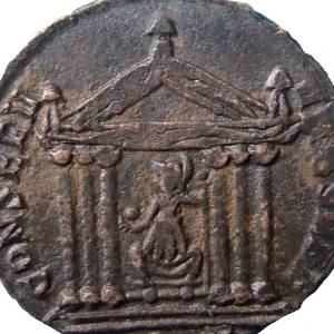 Coin - image of Roman temple