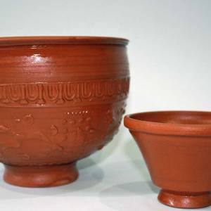 Replica Samian ware bowl and cup