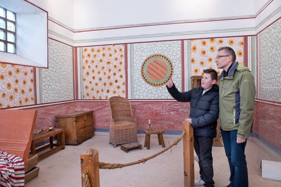 Inside the reconstructed Commanding Officer's house at Arbeia